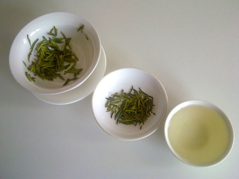 The appearance of green tea in three different stages